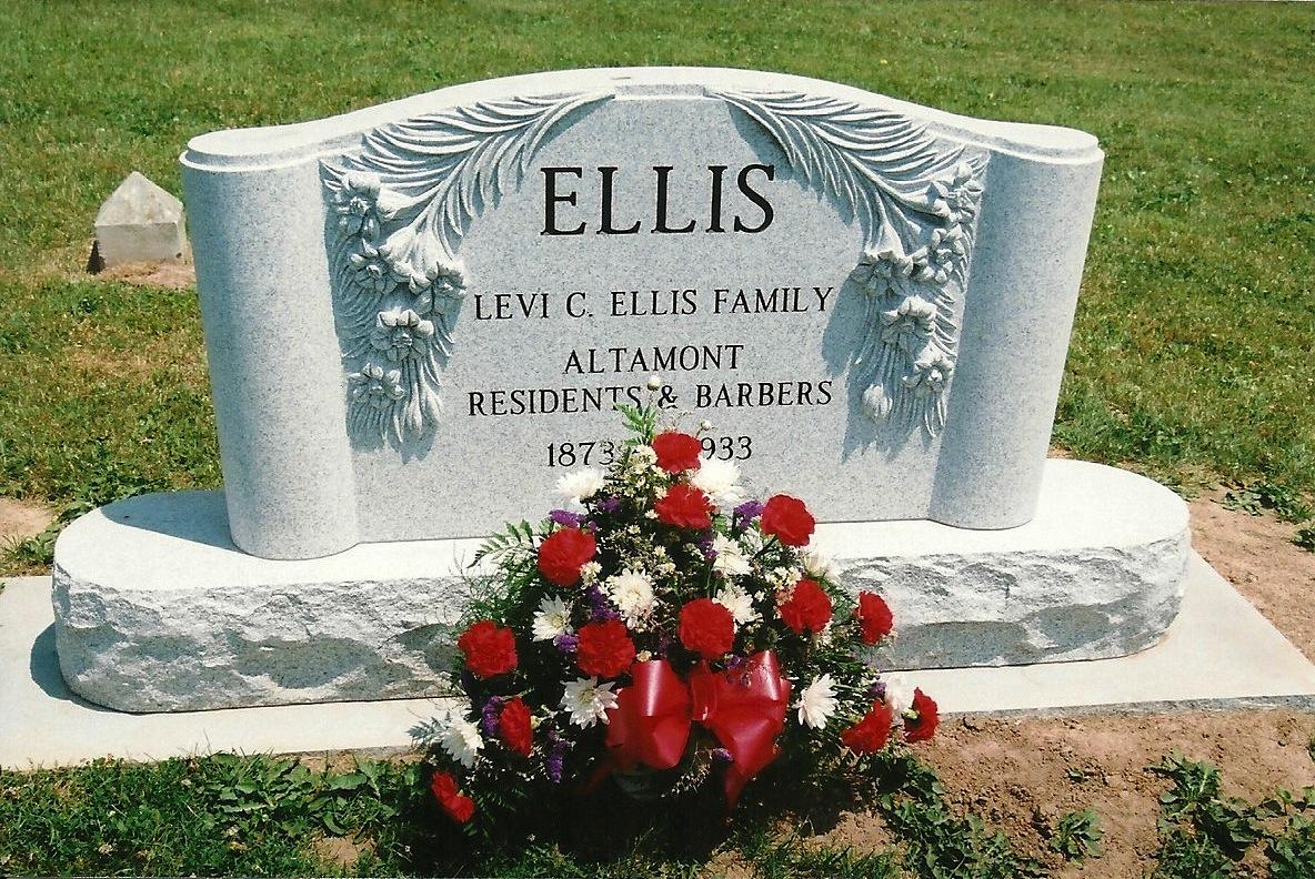 New Ellis family memorial headstone in Altamont's Union Cemetery